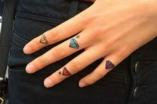 Colored diamonds on every finger