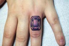 Colorful gem tattoo
