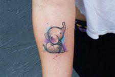 Cute little elephant on the arm
