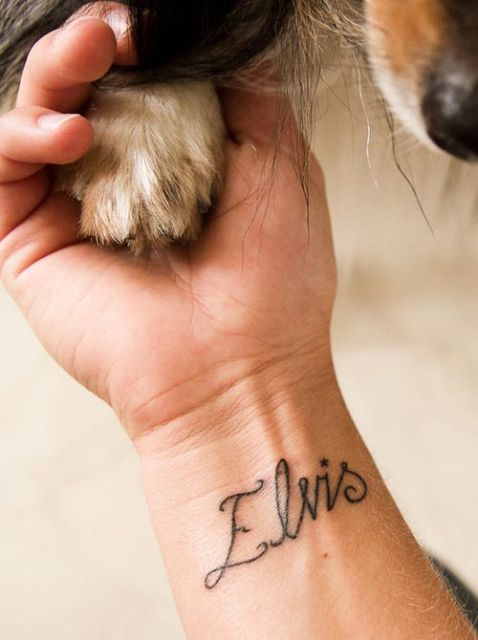 Dog name tattoo on the wrist