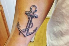 Pastel color anchor tattoo