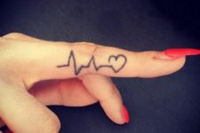 Pulse tattoo on finger