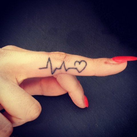 Pulse tattoo on finger