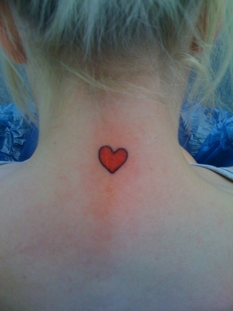 Red heart on the neck