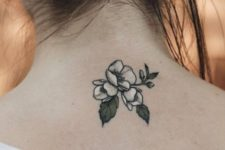 Silver gray flower tattoo