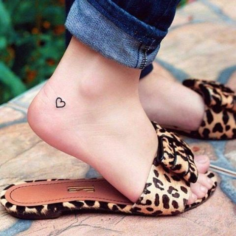 Picture Of Simple Heart Tattoo On The Foot