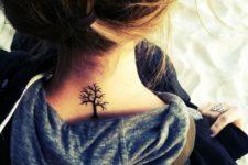 Small back neck tree tattoo