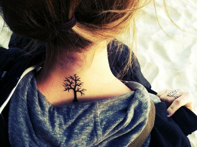 Picture Of Small Back Neck Tree Tattoo