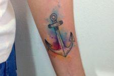 Watercolor anchor tattoo idea