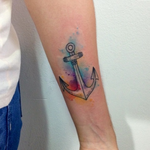 Watercolor anchor tattoo idea