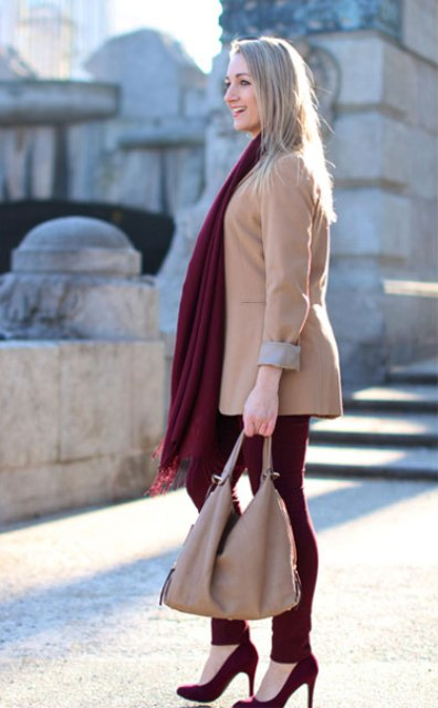 With beige jacket, marsala skinnies, pumps and bag