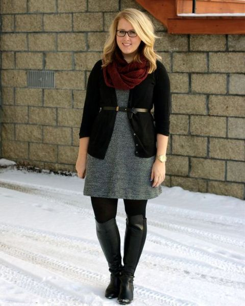 With black cardigan, gray dress and high boots