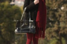 With black coat, dress, marsala tights and ankle boots