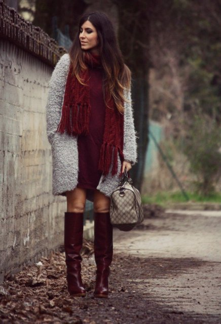 With dress, gray coat, printed bag and marsala leather boots