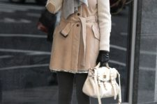 With dress, pastel color coat, heels and white bag