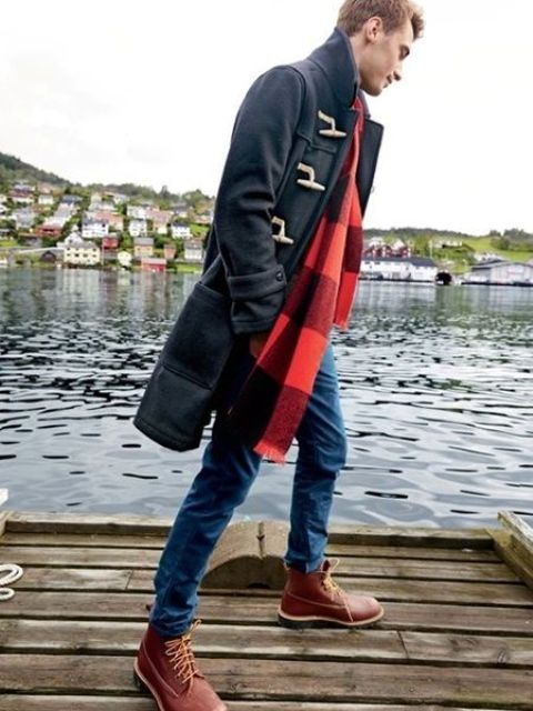 With duffle coat, jeans and marsala boots