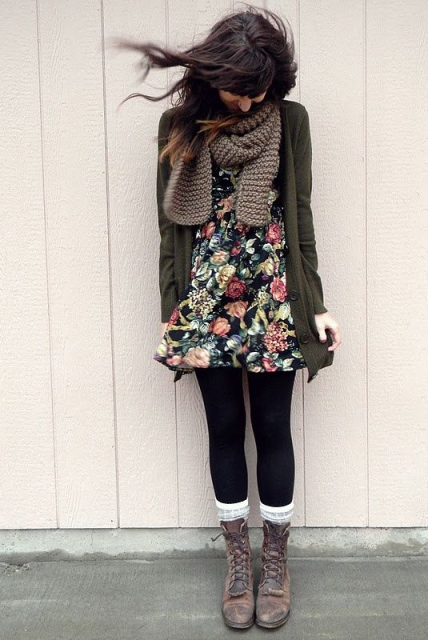 Cacusal, chic date night winter look with floral dress, jacket and mid calf boots