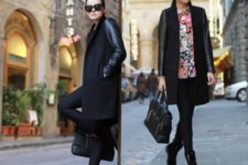With foral blouse, skinny pants and flat boots