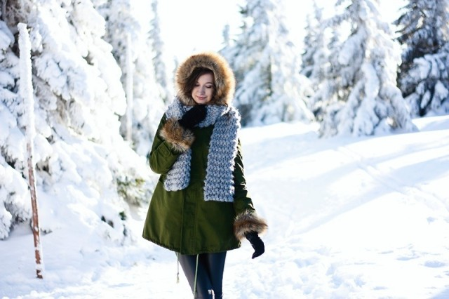 With fur parka and pants