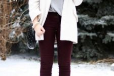 With gray loose shirt, white jacket, marsala trousers and ankle boots