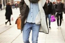 With jeans, denim shirt, shearling coat and marsala boots