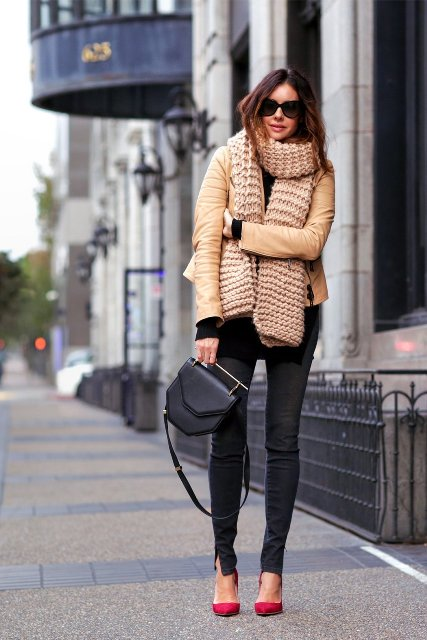 Winter work outfit with leather jacket, skinny pants, red shoes and mini bag