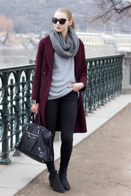 With light gray sweater, skinnies, ankle boots, marsala coat and black bag
