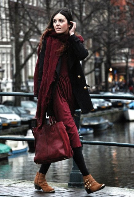 With marsala midi dress, black coat, black tights, marsala bag and brown ankle boots