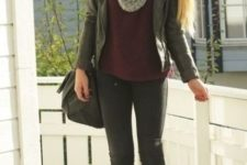 With marsala shirt, skinnies, boots and leather jacket