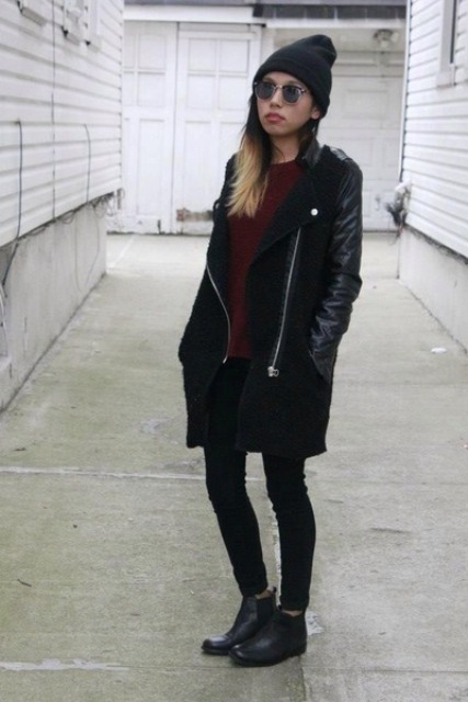 With marsala sweater, skinnies, flat boots and beanie