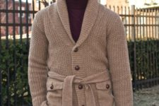 With marsala turtleneck and navy blue trousers