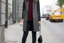 With marsala turtleneck sweater, jeans, ankle boots and chain strap bag