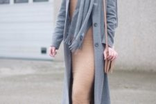 With midi dress, gray coat and fringe boots