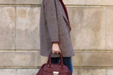 With mini coat, marsala bag, jeans and ankle boots