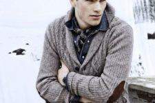 With plaid shirt, denim shirt and beige pants