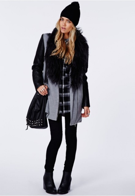 With plaid shirt, skinnies, ankle boots and beanie