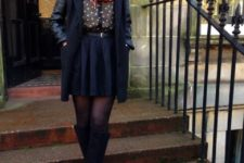 With polka dot blouse, skater skirt, boots and pink scarf