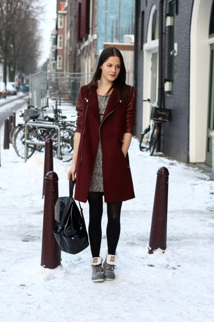 With printed dress, black tights and backpack