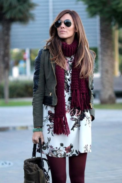 A winter outfit with marsalan scarf, printed dress, leather jacket, marsala tights and bag