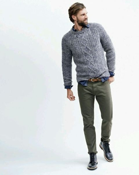 With printed shirt, green army pants and black leather boots