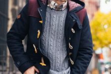 With printed shirt, jeans and duffle coat
