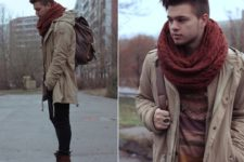 With printed sweater, parka, skinnies and backpack