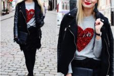 With printed sweatshirt, mini skirt and clutch
