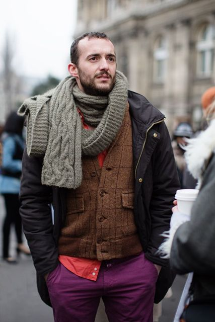 With printed vest, red shirt, jacket and purple pants