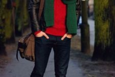With red sweater, leather jacket, jeans and mid calf boots