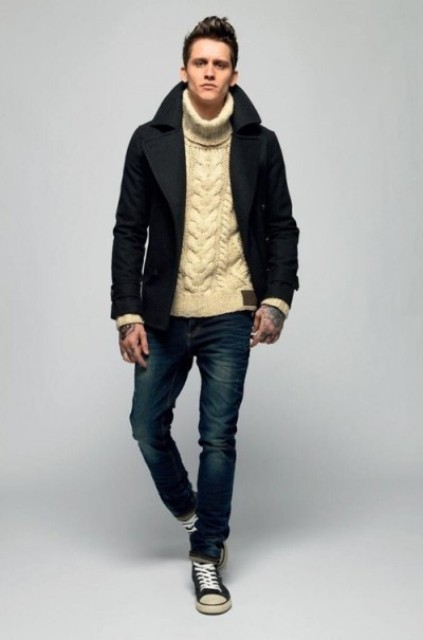 With short coat, jeans and sneakers