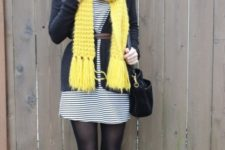 With striped dress, cardigan, belt and high boots