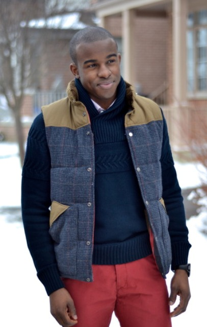 With two color puffer vest and red pants