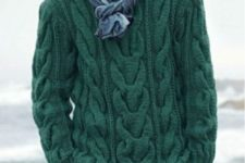 With two color scarf and gray pants