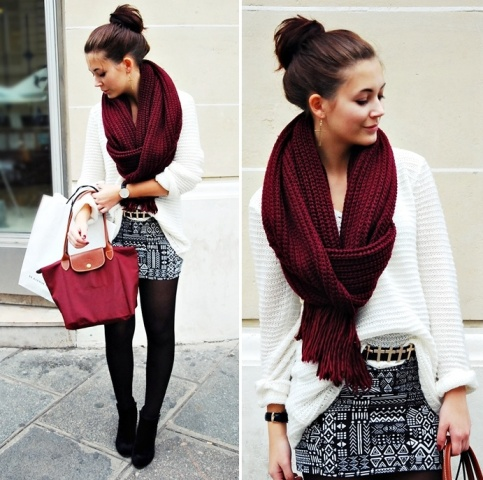 With white loose sweater, printed mini skirt, black tights and ankle boots